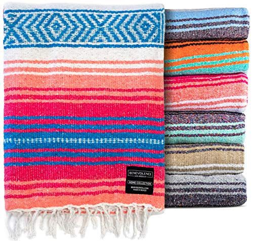 Mexican Blanket, Falsa Blanket   Authentic Hand Woven Blanket, Serape, Yoga Blanket   Perfect Beach Blanket, Navajo Blanket, Camping Blanket, Picnic Blanket, Saddle Blanket, Car Blanket (Coral)