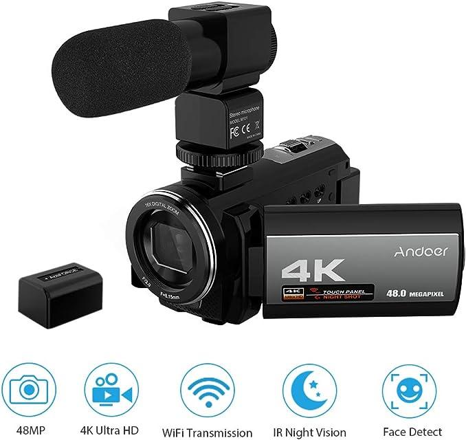 Videocamara 4k WiFi Andoer Ultra HD Grabadora de Videocámara 1080P 48MP 60FPS 30FPS IR Visión Nocturna Cámara Digitalcon MicrófonoDetección de rostrosAnti Shake DSP3.0Pantalla Táctil