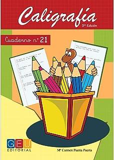 Caligrafía con pauta de cuadrícula - Cuaderno 21 / Editorial GEU/ Mejora la escritura / Correcta realización del trazo / Cuadrícula de 3 mm