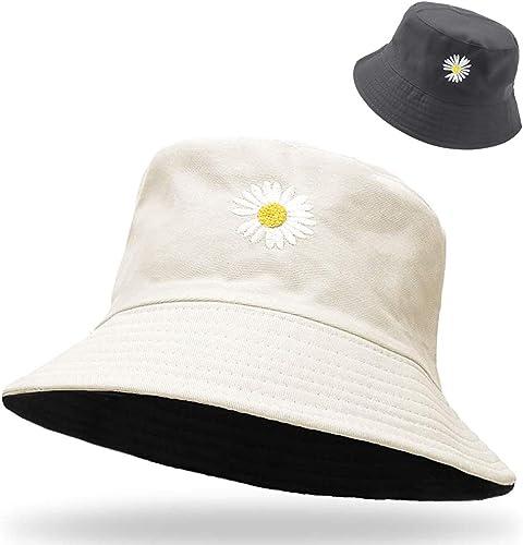 PALAY® Women Bucket Hats - Little Daisy Print Bucket Hat Summer Fisherman Hat Cotton Reversible Sun Hat Beach Hat for...