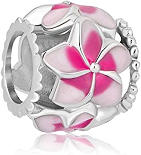 Orchid Charm Fit Pandora Charms Silver Plated Orchid Charm Filigree Pink Flower Love Enamel Charm Beads European Charms Bracelet Gift