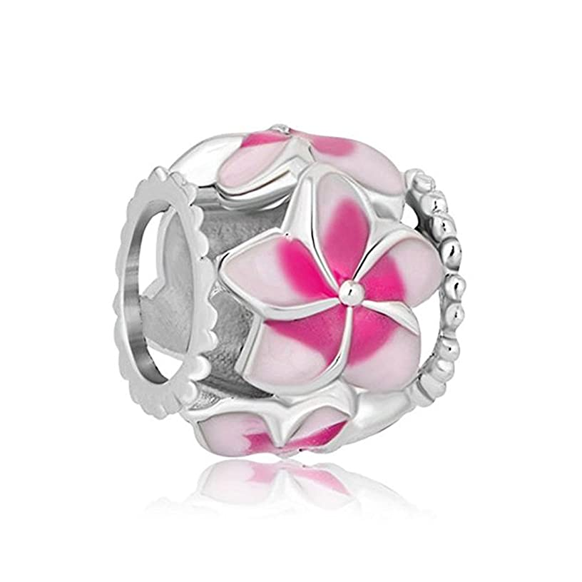 Creationtop Fit Pandora Charms Silver Plated Orchid Charm Filigree Pink Flower Love Enamel Charm Beads European Charms Bracelet Gift