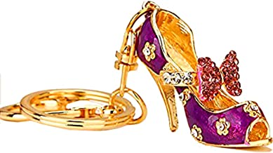 Reizteko Women's Gold Plated Crystal Rhinestone Butterfly Knot High Heels High Heel Shoe Keychain Pendant Keychain Charms Gift (Purple)