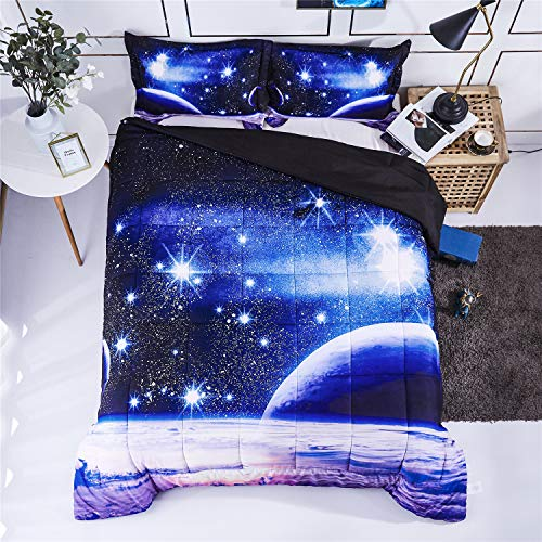 HIG 3D Bedding Set 2pc Twin Size Outer Space Universe Print Comforter Set with One Matching Pillow Cover -Box Stitched Quilted Duvet -General for Men and Women Especially for Children (P23,Twin)