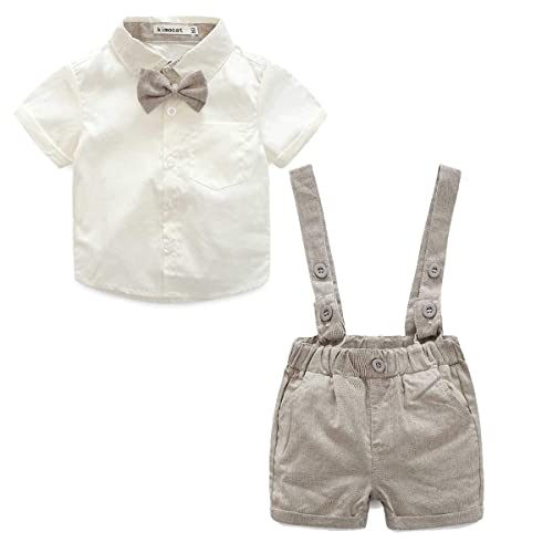 88b2faa3b Baby Boys 2Pcs Christening Suits Bowtie Shirt Top + Suspenders Strap Shorts,Formal  Kids Party