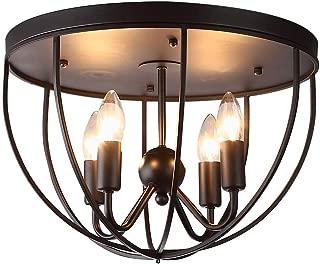 KunMai Vintage Black Metal Round Cage Ceiling Light Semi Flush Mount Rustic Fixture 4 Lights Candle Style