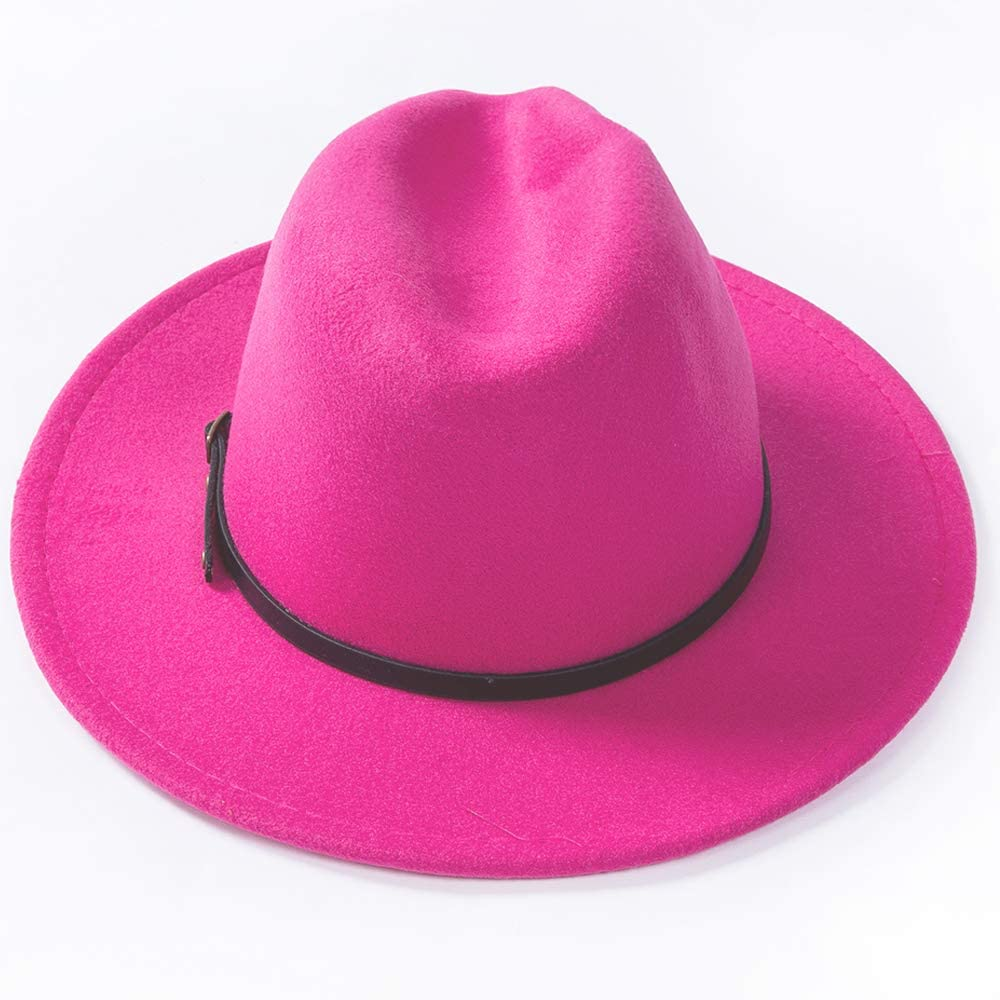 Womens Classic Wide Brim Fedora with Belt Buckle Wool Panama Felt Hat