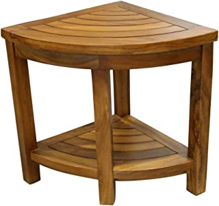 ALATEAK Corner Wood Bath Spa Shower Stool Table Bench Shelf Storage Fully Assembled 15