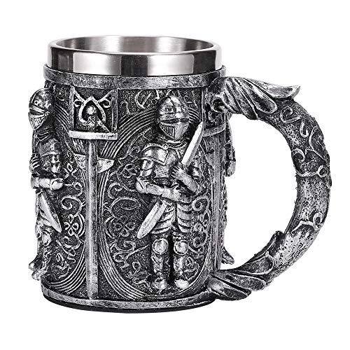 SUPERHUA Taza de Cerveza de Acero Inoxidable de Resina de Guerrero Medieval Knight Stein Retro Jarra Taza de café Creativa Taza de té vikinga Pub Bar Decoración