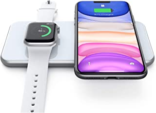 HinyxTrådlös Iaddningsplatta, trådlös laddningsbas för iWatch 5/4/3, Airpods 2 / Pro, snabb trådlös laddning för iPhone S...