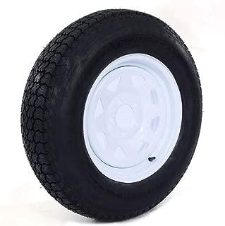 1PC Trailer Tire On Rim Tubeless ST205/75D15 F78-15 205/75-15 LRC 5 Lug Wheel White Spoke 15