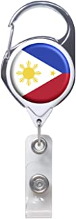 Officially Needed-Philippines Country ID Badge Holder, White Retractable Carabiner Clip | Great Office Supplies or Holding Keys | Gifts for Women, Teachers, Nurses, Professionals, Government