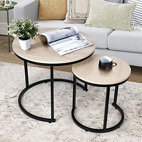 Tavolino da Salotto,Tavolino Rotond,Set di Tavolini rotondi da Salotto per soggiorno, camera da letto, stabile e semplice montaggio (Colore del legno)