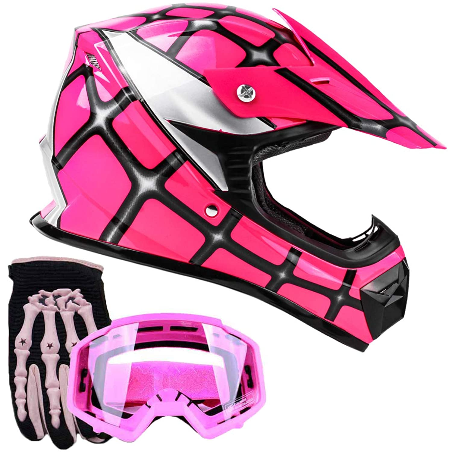 Youth Kids Offroad Gear Combo Helmet Gloves Goggles DOT Motocross ATV Dirt Bike Spiderman Pink, X-Large