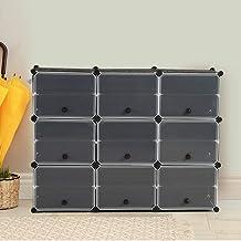Cube Cabinet Shoe Storage Cabinet Organiser Shelf Stackable DIY 6 Tier 3 Column 3 Column 6 Row-Black