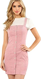 Floerns Women's Cute Strap Button up Corduroy Overall Sheath Pinafore Dress