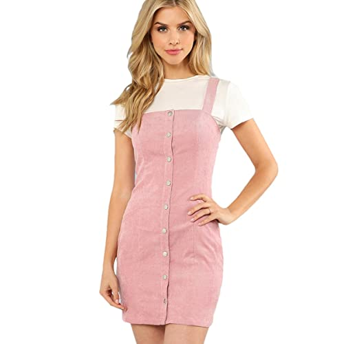 63ec720bf2 Floerns Women s Cute Strap Button up Corduroy Overall Sheath Pinafore Dress