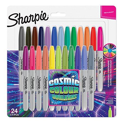 Sharpie rotuladores permanentes, punta fina, color cósmico, edición limitada, 24 unidades