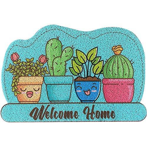 Vloermat met draadlusstructuur, eenvoudige deurmat voor thuis, idyllisch tapijt, 1 cm dik-Lengte 76cm x breedte 60cm_Balkon