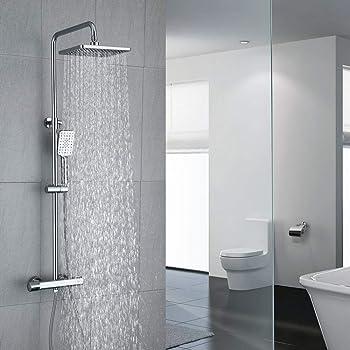 Columna de ducha MOL con grifo termostático y tubo redondo ...