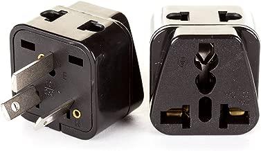 OREI 2 in 1 USA to Australia/China Adapter Plug - 2 Pack, Black