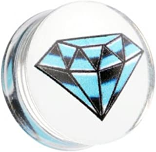 Pair (2) Blue & Black Diamond-Shape Logo Ear Plugs Clear Acrylic Double Flared Gauges- 2G 6.5MM