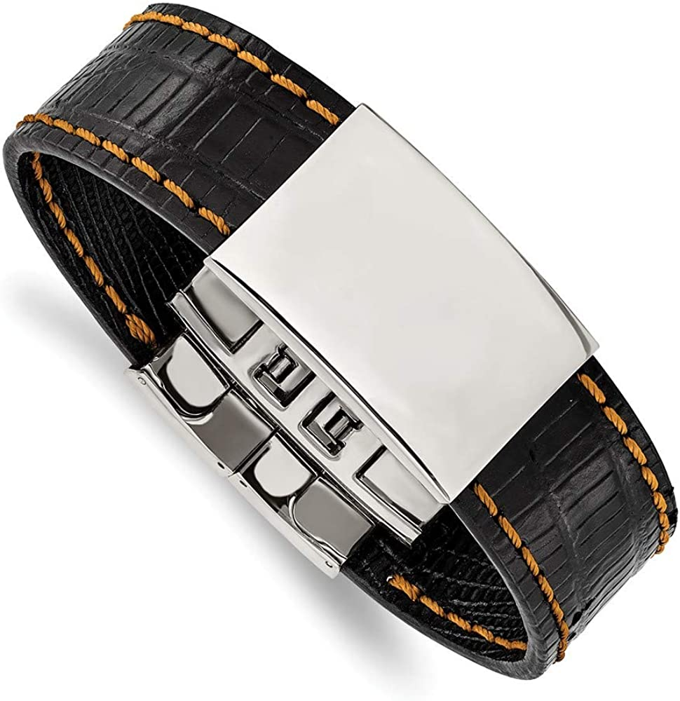 Solid Stainless Steel Men's New item Shiny Stitch Black Plate with 35% OFF Orange