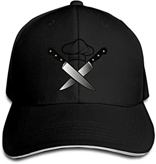 NO4LRM Mens Womens Chef Hat Knives Cotton Adjustable Peaked Baseball Cap Adult Sandwich Hat