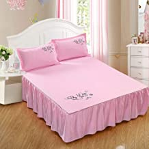 YXZQ Stylish Frilled Valance Fitted Sheet (Valance Frill Drop: 45cm) Ruffled Bedding Protector with Elastic Band,Double-150 200cm,Pink