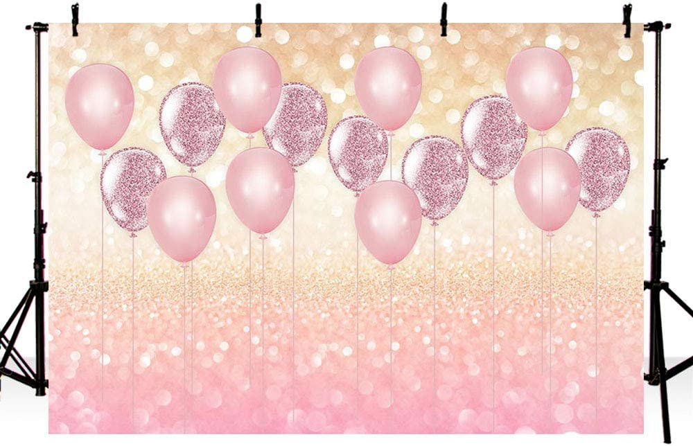 MEHOFOTO 8x6ft Pink Balloons Bokeh Girl Birthday Photography Backdrop Props Princess Baby Shower Rose Gold Party Decorations Background Photo Studio Banner for Cake Table
