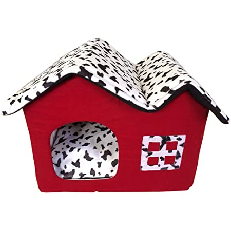 Waterproof /& Washable Retro Double Roof Dog Kennel Pet House Room Soft Cat Bed Pet Crates Foldable Warm Dog Cat House Shelter