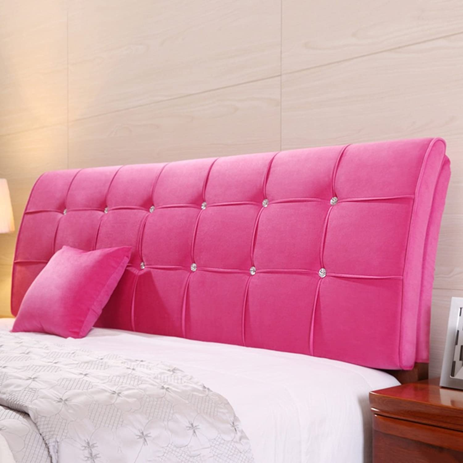 WENZHE Upholstered Fabric Headboard Bedside Cushion Pads Cover Bed Wedges Backrest Waist Pad Large Back Bed Cover Sofa Pillow Bedroom Lounge Multifunction Soft Case, There Are Headboards, Cloth, 62cm High, 5 colors, 8 Sizes Optional ( color   Pink , Size