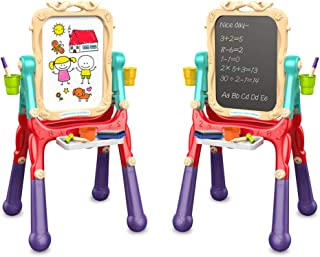 Arkmiido Kids Easel Double Sided Art Easel with Chalkboard and Magnetic Dry Erase Board for Toddler Drawing, 360° Rotating...