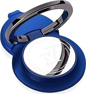 スマホリング 薄型 車載マグネット支持する 携帯 リング 高品質亜鉛合金 ホールドリング iPhone/Android対応 360°回転 (ダークブルー)