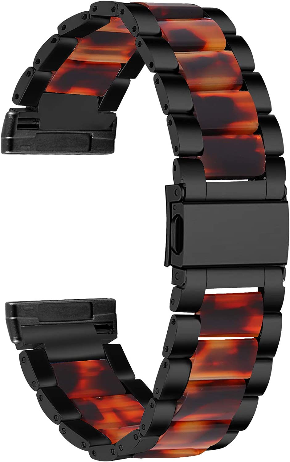 Mtozon Bands Compatible with Fitbit Versa 3/Sense, Stainless Steel with Resin Replacement Wristband Classic Metal Strap for Women Men, Black with Tortoise