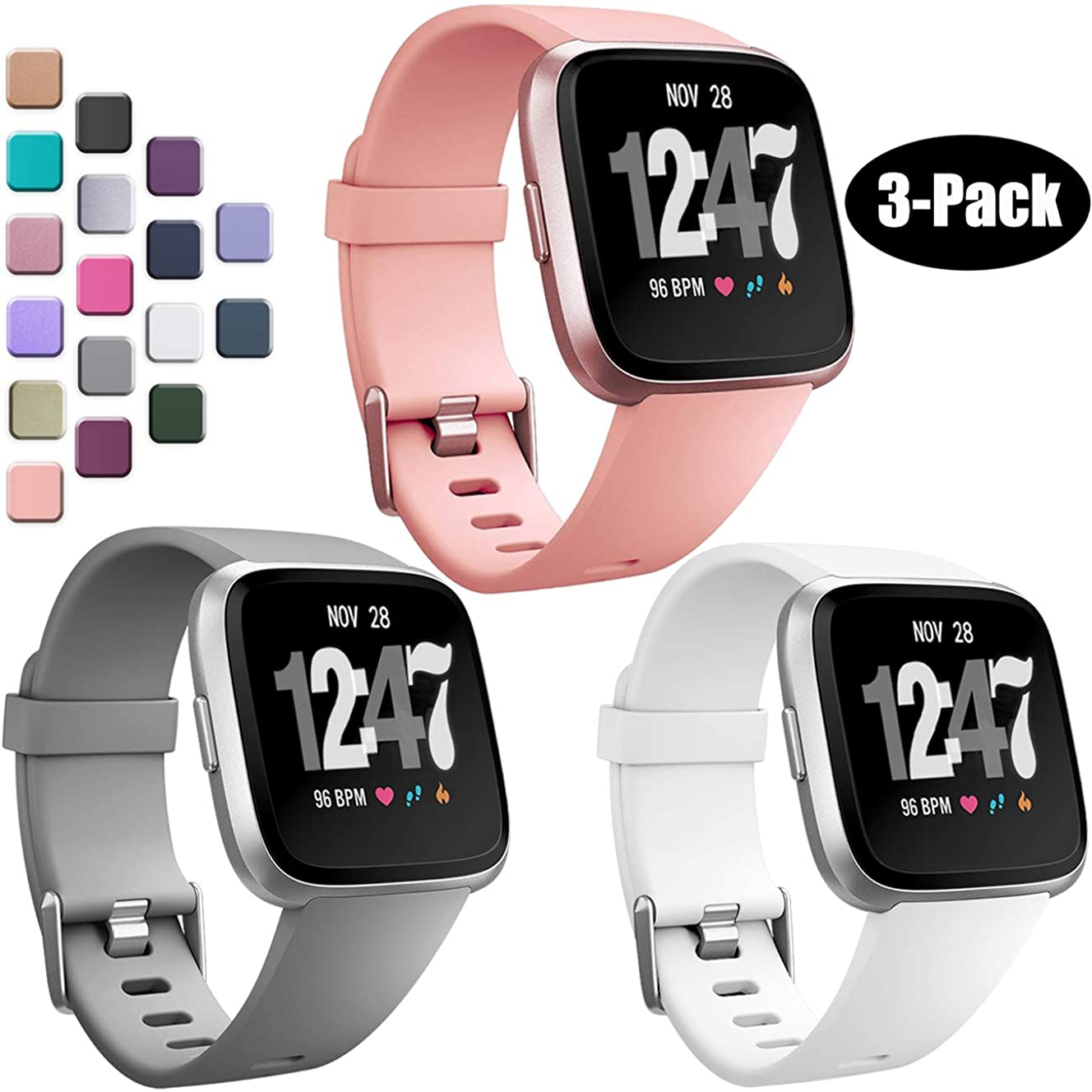 Wepro Bands Compatible with Fitbit Versa SmartWatch and Versa Lite SE Watch, 3-Pack, Small, Large, Buckle