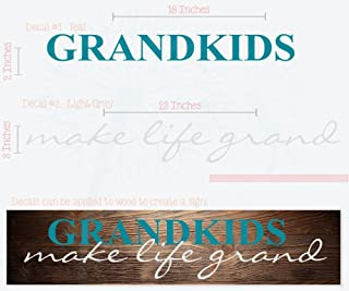 Grandkids Make Life Grand Wall Letters Vinyl Decal Stickers Wall Art, 23x4.5-inch, Teal/Light Gray