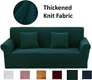 Argstar Thickened Love Seat Couch Covers, Premium Knit Cover for Sofa and Loveseat, Sofa Cover for 2 Seater, 2 Cushion Sofa Slipcover, Slipcovers for Furniture Loveseat, Dark Green