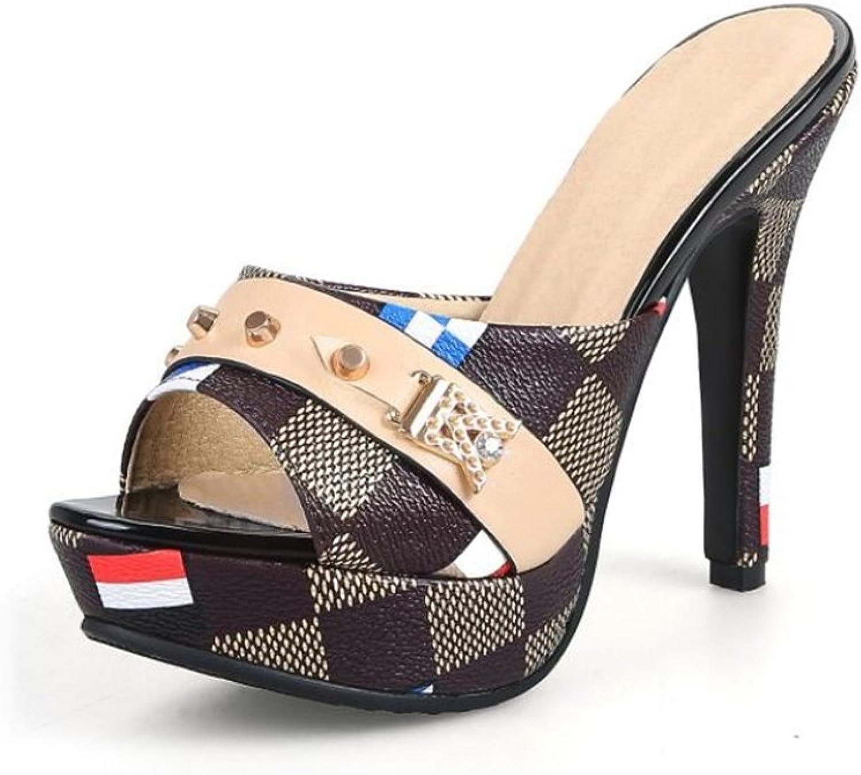 Women's Open Toe Leather Plaid colorblock High Heel Sandals Print