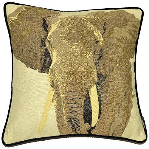 McAlister Textiles Cuscini Ricamo Natura Elefante, Federa Copricuscini con Velluto Decorativi per Divano, Letto, Sedie, Taglia - Grigio 40x40cm