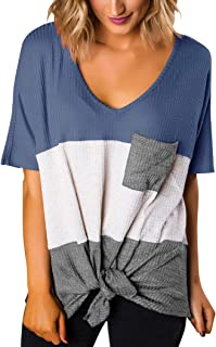 Minclouse Women's Short Sleeve V Neck Tops Color Block Tie Knot Tees Blouses with Pocket