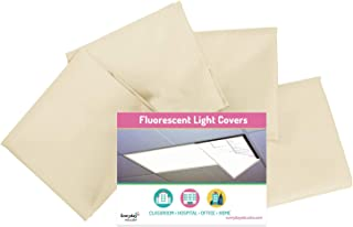 Fluorescent Light Covers Cozy Shades - Softening Light Filter for Game Room, Classroom, Office, Kids Bedrooms, or Hospital Room 48 x 24 inches - Set of 4 - Off White/Beige
