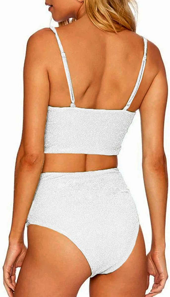 CHYRII Women's Glitter High Waisted Criss Cross Twisted Bikini Sets Two Piece Swimsuit