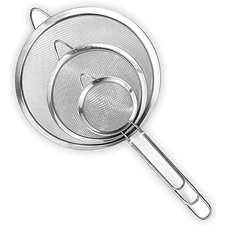 """Set of 3 Stainless Steel Fine Mesh Strainers,Kitchen Fine Sieves Strainers with Handle,Food Colander Sieve for Tea Coffee Powder Flour Filter Rinse Vegetable Fruit etc.(2.6""""+4.6""""+7.1"""")"""