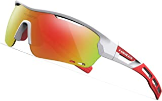 TOREGE Polarized Sports Sunglasses with 3 Interchangeable Lenses for Men Women Cycling..