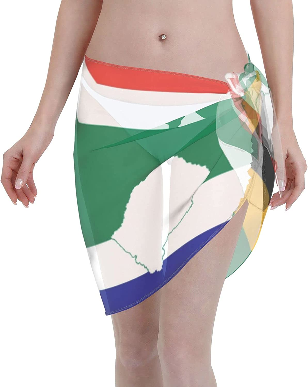 Flag of South Africa Women Short Sarongs Beach Wrap, Beach Cover-Ups High Waisted Wrap Skirt with Slit,Sexy Sheer Swimsuit Bikini Wraps Chiffon,Soft Scarf for Swimwear Black
