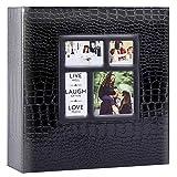 Ywlake - Álbum de fotos de 1000 fundas de 10 x 15 cm, tamaño grande, diseño clásico, cubierta de piel de cocodrilo, 100 hojas, 200 Pages, negro)