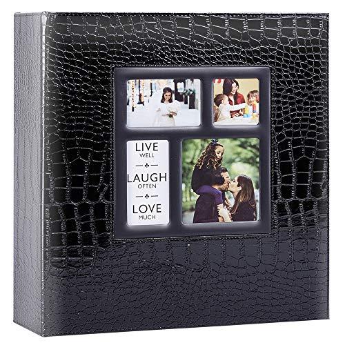 Ywlake Album Photo 1000 Pochettes 10x15cm Photos Grand Format Famille Mariage Classique Couverture en Cuir Crocodile (100 Feuilles, 200 Pages, Noir)