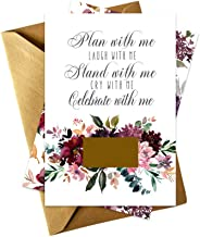 Shabby Floral Be My Bridesmaid Scratch Off Cards (Set of 7) with Gold Envelopes