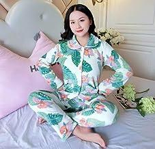 Dames Pyjama Set,Blauw Warm Flanel Casual Lange Mouw Palmblad Print Nachtkleding Zachte Lange Broek Loungewear Leuke Herfs...